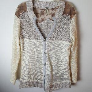 BKE Lightweight Knit Lace Sweater Size M
